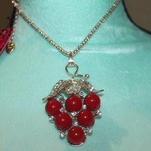 Nwt: Red enamel Grapes Necklace